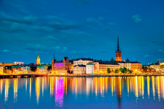 The old part of stockholm gamla stan during twilight sunset, sweden.