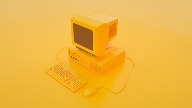 Старый персональный компьютер с клавиатурой и мышью, изолированных на желтой 3d иллюстрации.