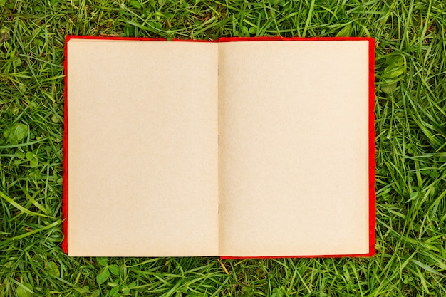 Old photo album with blank pages