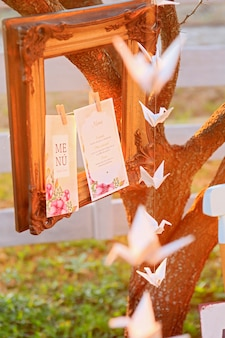 Old photo frame on tree and origami at sunset