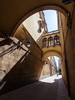 Old picturesque street of barcelona