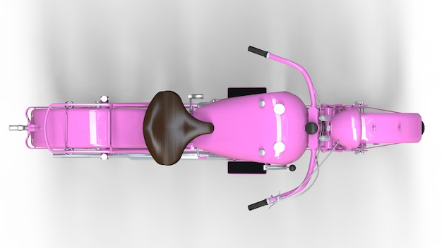 An old pink motorcycle of the 30s of the 20th century. an illustration on a white background with shadows from on a plane.