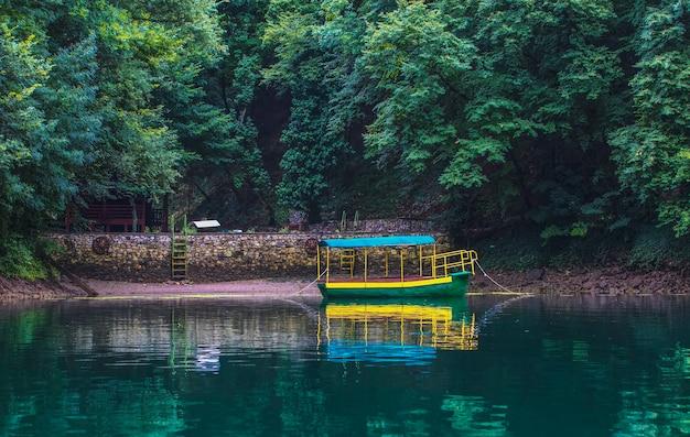 푸른 숲을 배경으로 해안 근처에 묶여 있는 오래된 유람선