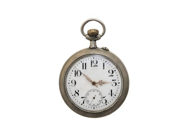 古いポケット時計は白い背景を分離しました