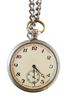 Old pocket watch on a chain on a