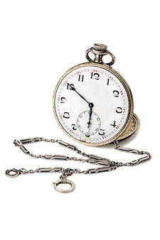 Old pocket watch with a chain isolated on white background