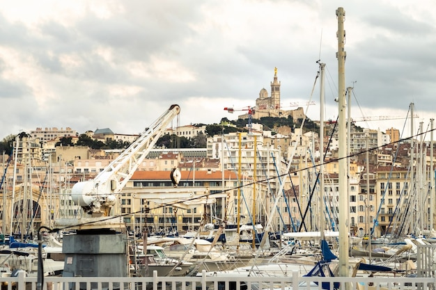 Old port with yachts in the city of marseille.france.