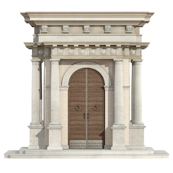 Old portal in neoclassical style isolated on white