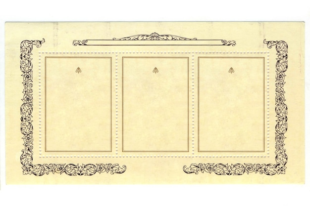 白い背景の上のフレームと古い切手