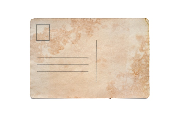 An old postcard. copy space. isolated on white.
