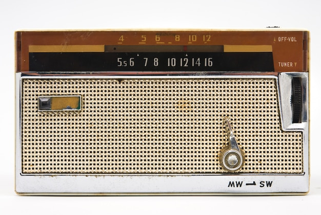 Old radio on white