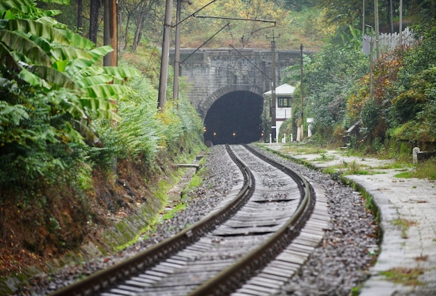 Old railroad and tunnel in the mountains in autumn