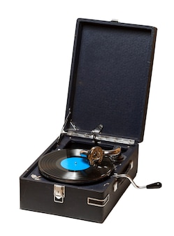 Old record player gramophone needle on record