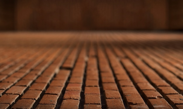 Old red brick floor material for background