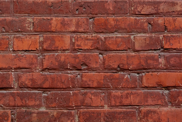 Старый красный кирпич стены текстуры фона крупным планом