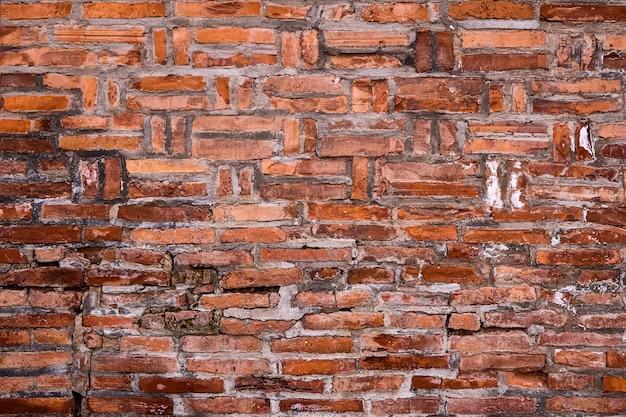 古い赤レンガの壁のテクスチャグランジ背景、インテリアデザインの缶