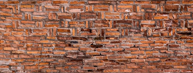 Old red brick wall texture grunge background, can for interior design