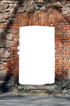 Old red brick wall with hole isolated on white background in the middle. high quality photo