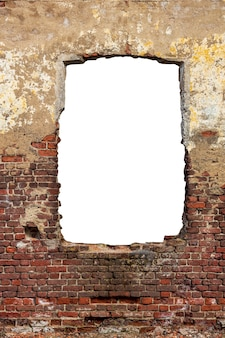 An old red brick wall with a hole in the middle. isolated on a white background. high quality photo
