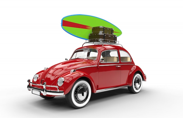 Old red car with surfboard and luggage