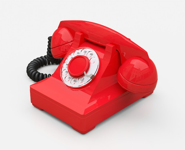 Old red dial telephone
