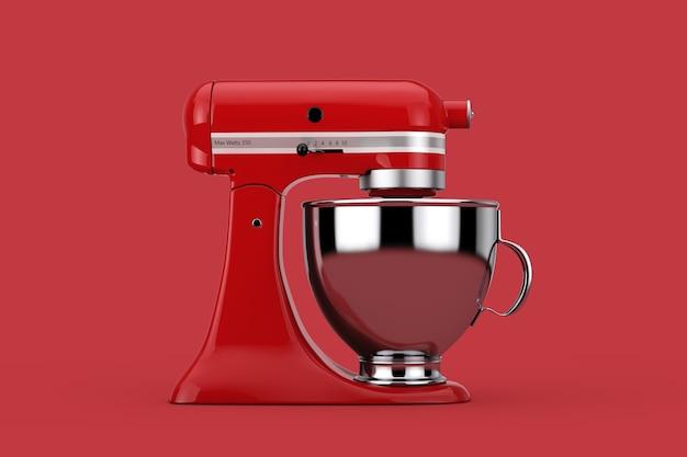 빨간색 배경에 오래 된 빨간 부엌 스탠드 식품 믹서입니다. 3d 렌더링