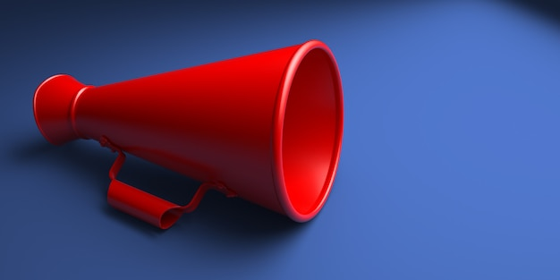 Old red megaphone or bullhorn isolated