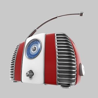 古い赤いヴィンテージレトロスタイルのラジオ受信機。灰色の背景に分離された3d画像