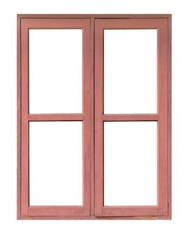 白い背景で隔離の古い赤い木製の木製の窓