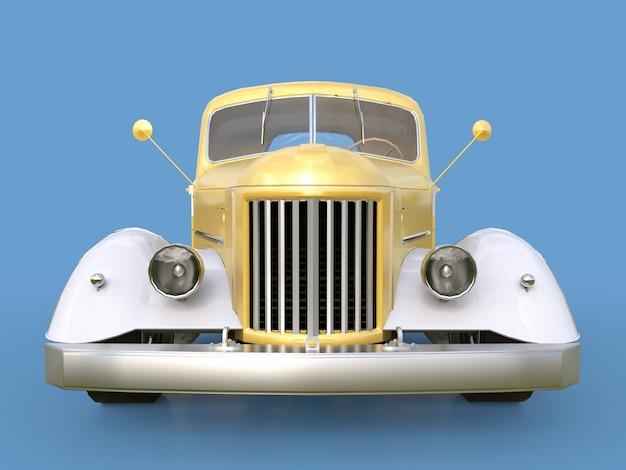 古い復元されたピックアップ。青色の背景にホットロッドゴールデンホワイト車のスタイルでピックアップ。