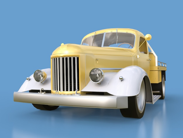 Old restored pickup. pick-up in the style of hot rod golden-white car on a blue background.