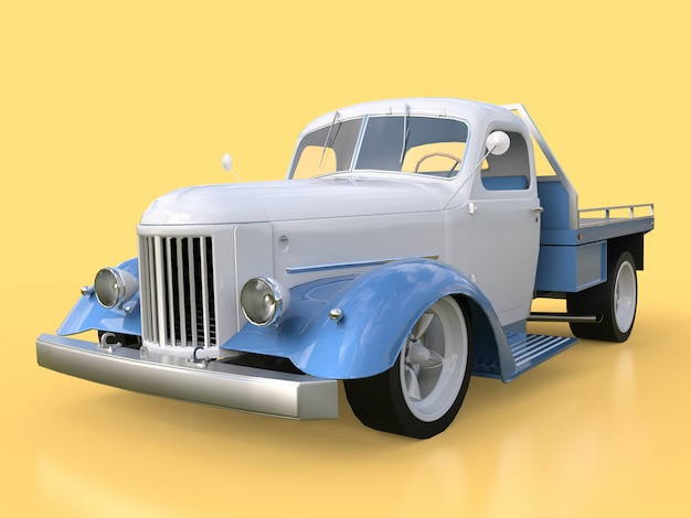 Old restored white and blue car on yellow