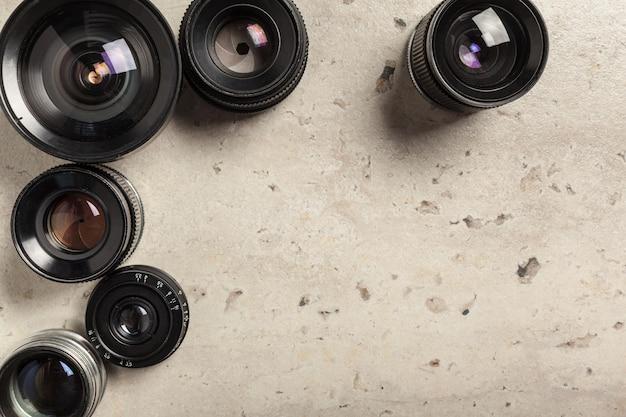 Old retro film camera lens