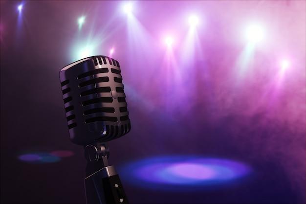 Старый ретро микрофон со сценическим освещением 3d-рендеринга