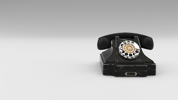 Old retro phone, 3d rendering