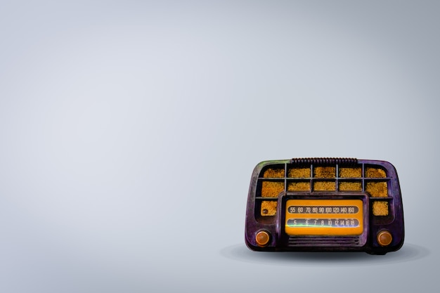 Old retro radio on white background. this is the vintage radio for listen to music.