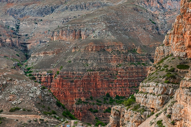Old rock layers in canyon