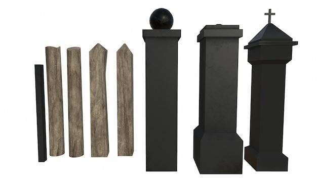 흰색 바탕에 오래 된 바위 기둥