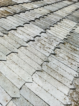 An old roof made of wooden texture shingles, ancient reliable technology.