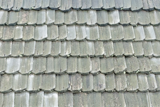 Old roof with wooden shingles. texture. close-up