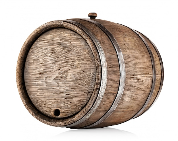 Old round oak barrel