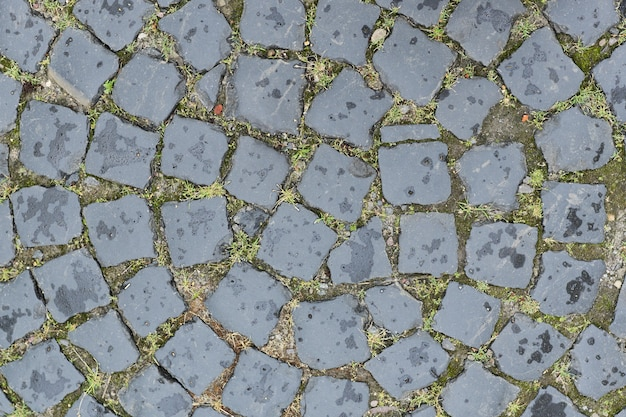 Old round paving stones of gray stones