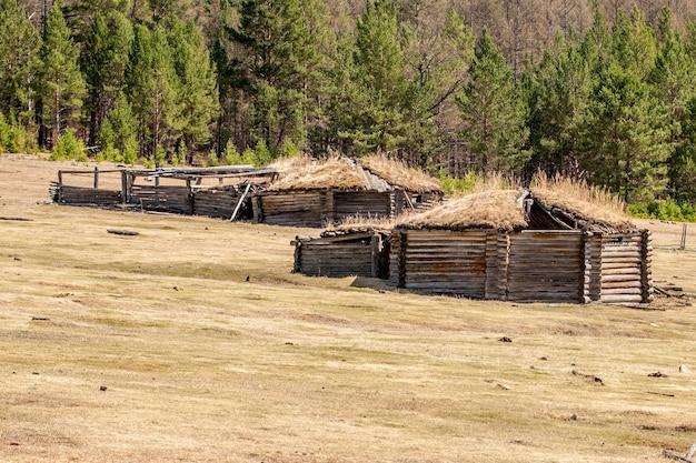 屋根に古い草がある畑の古い台無しにされたパオ