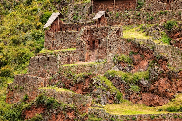 Old ruins of pisac city in sacred valley. cusco. peru. south america
