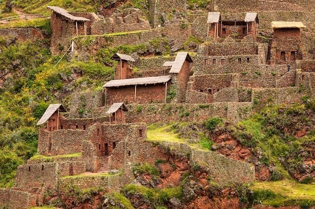 Old ruins of pisac city of sacred valley in cusco, peru