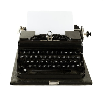 Old russian typewriter with paper