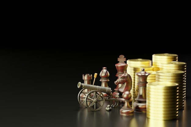 Old rusted cannon on carriage and cannonballs are placed next to it. there are chess and gold coins stacked in a dark background. concept of business battles with a strategic plan. 3d illustration.