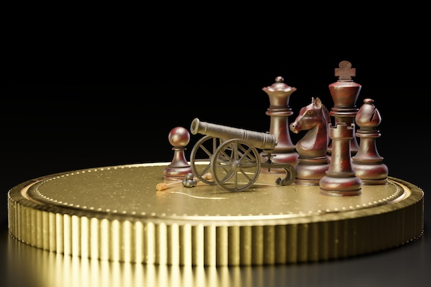 Old rusted cannon on a carriage and cannonballs are placed next to it. there is chess on a gold coin in dark black background. the concept of business battles with a strategic plan. 3d illustration.