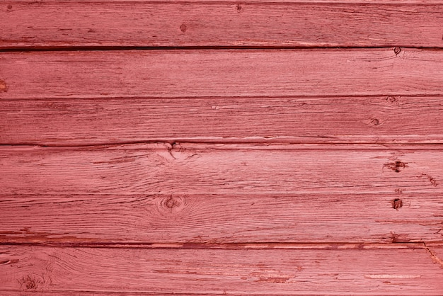 Old rustic  living coral colour wooden background
