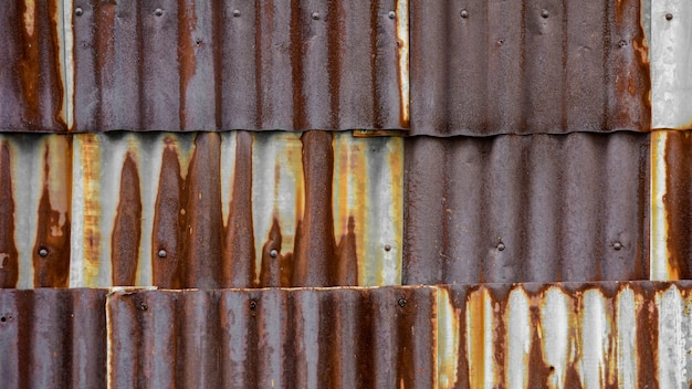 Old and rusty brown galvanized iron roof texture
